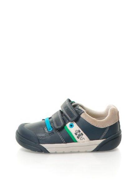 Pantofi bleumarin inchis de piele cu velcro Folk