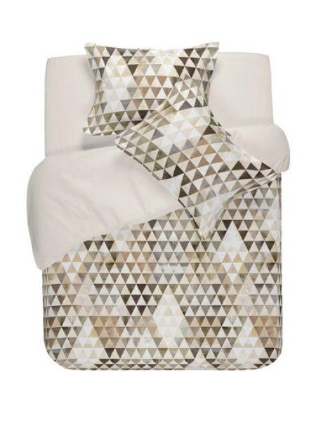 Set de pat bej cu imprimeu geometric Tula