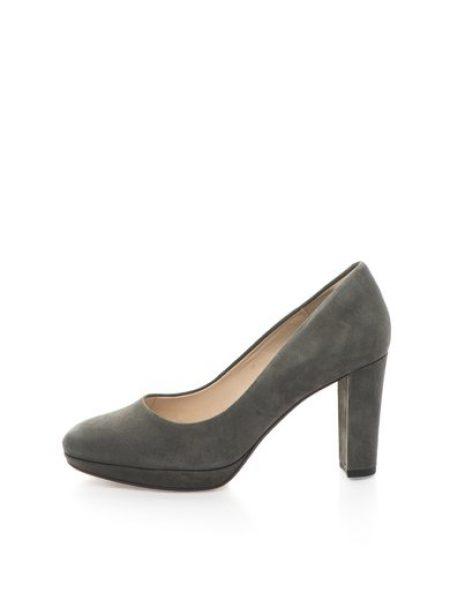 Pantofi gri de piele intoarsa Kendra Sienna