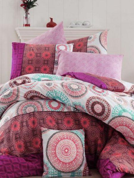 Set de pat multicolor cu diverse imprimeuri orientale Ringo