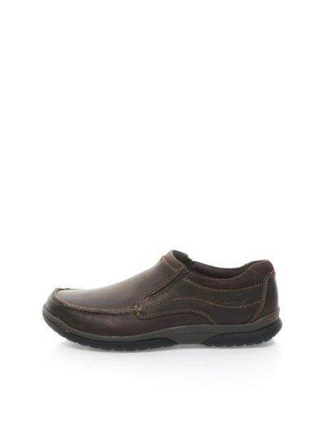 Pantofi boat maro inchis de piele nabuc Randle Free