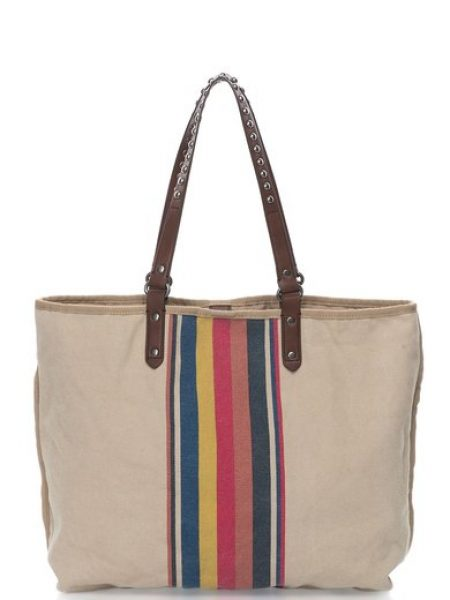 Geanta shopper bej cu model multicolor