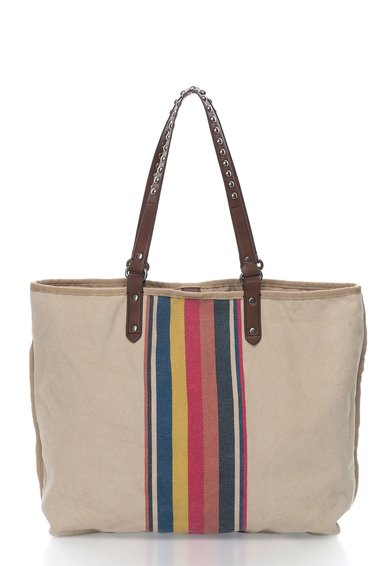 Geanta shopper bej cu model multicolor