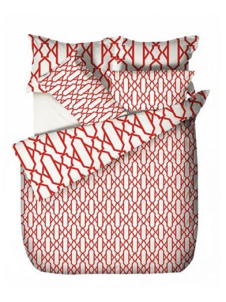 Set de pat rosu caramiziu cu alb si model geometric