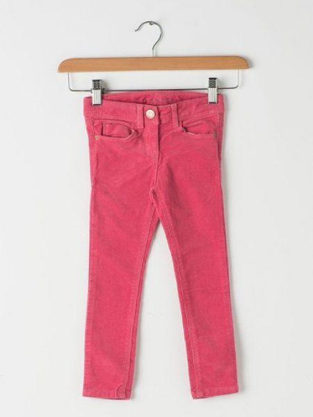 Pantaloni fucsia din material reiat cu talie ajustabila