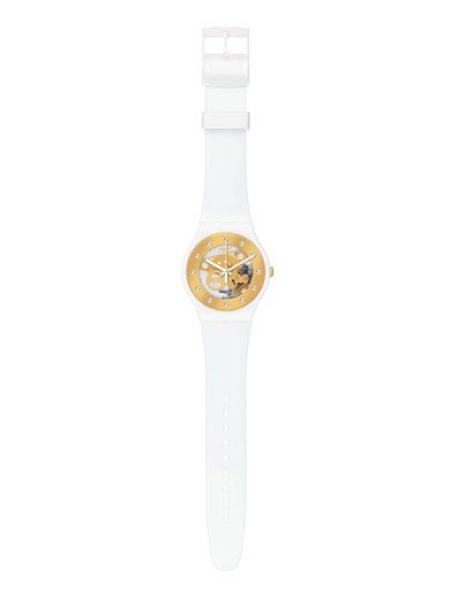 Ceas alb cu auriu cu o curea din silicon