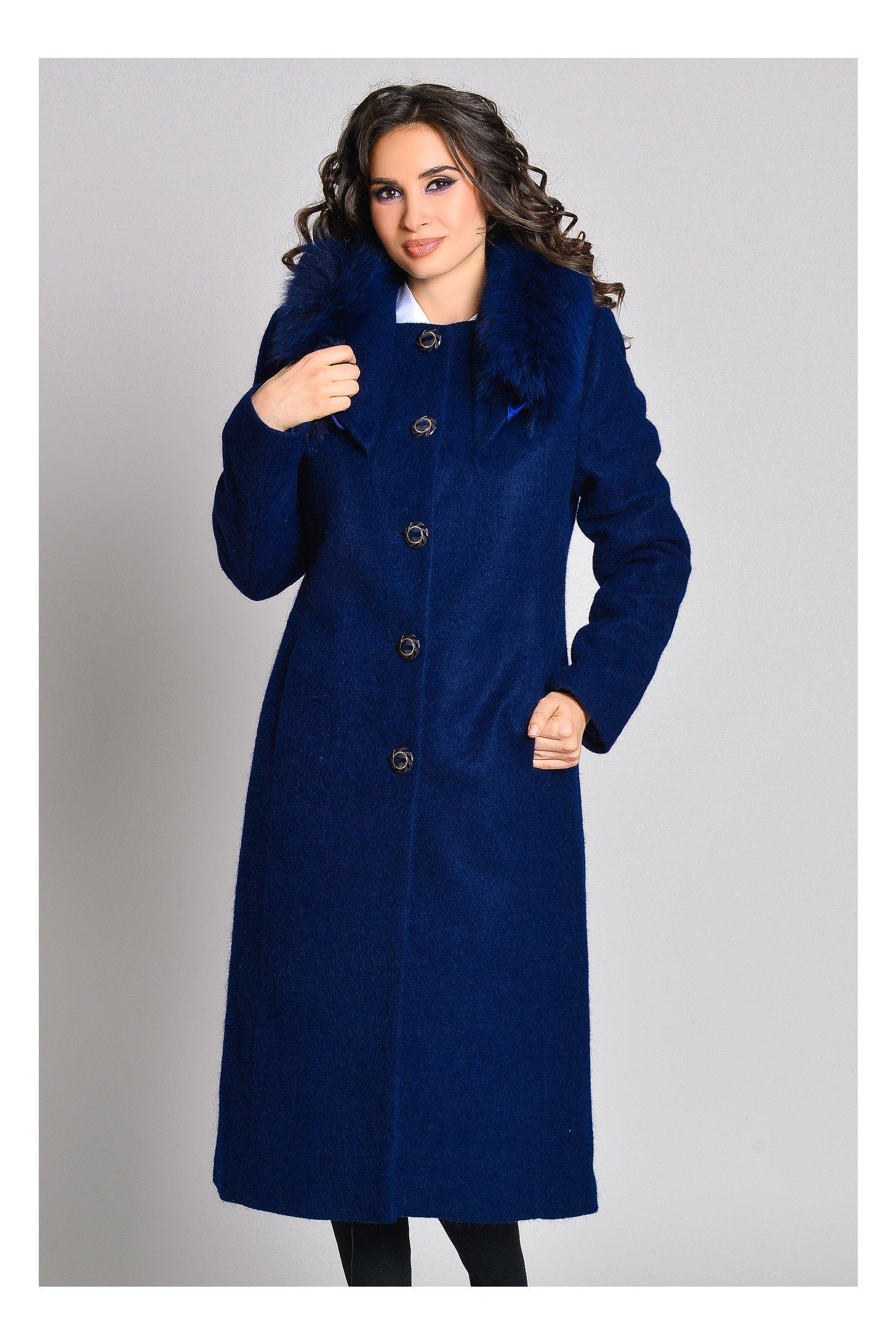 Palton elegant bleumarin lung cu blanita la guler, colectia 2018
