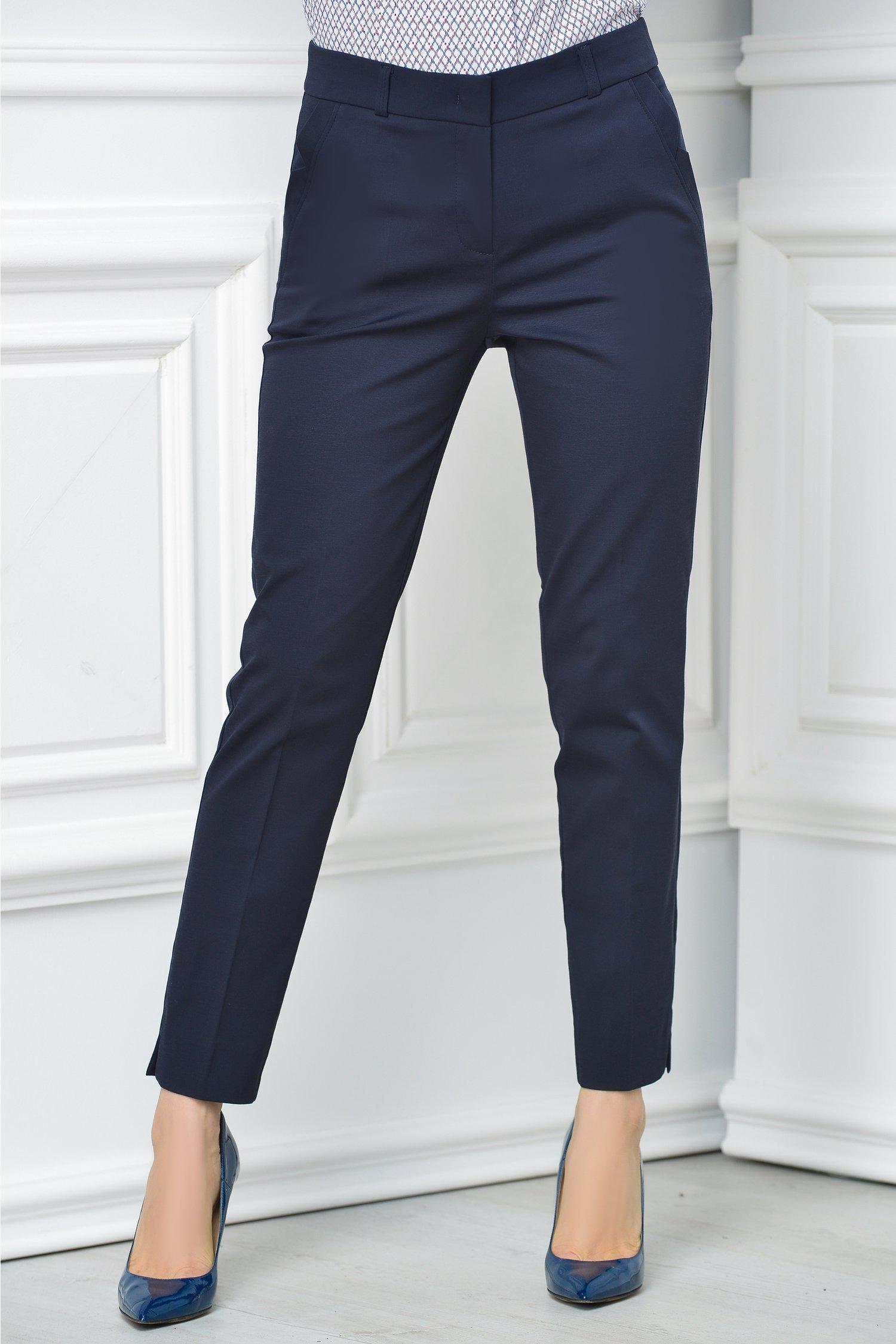 Pantalon Carola bleumarin office elegant, colectia 2018
