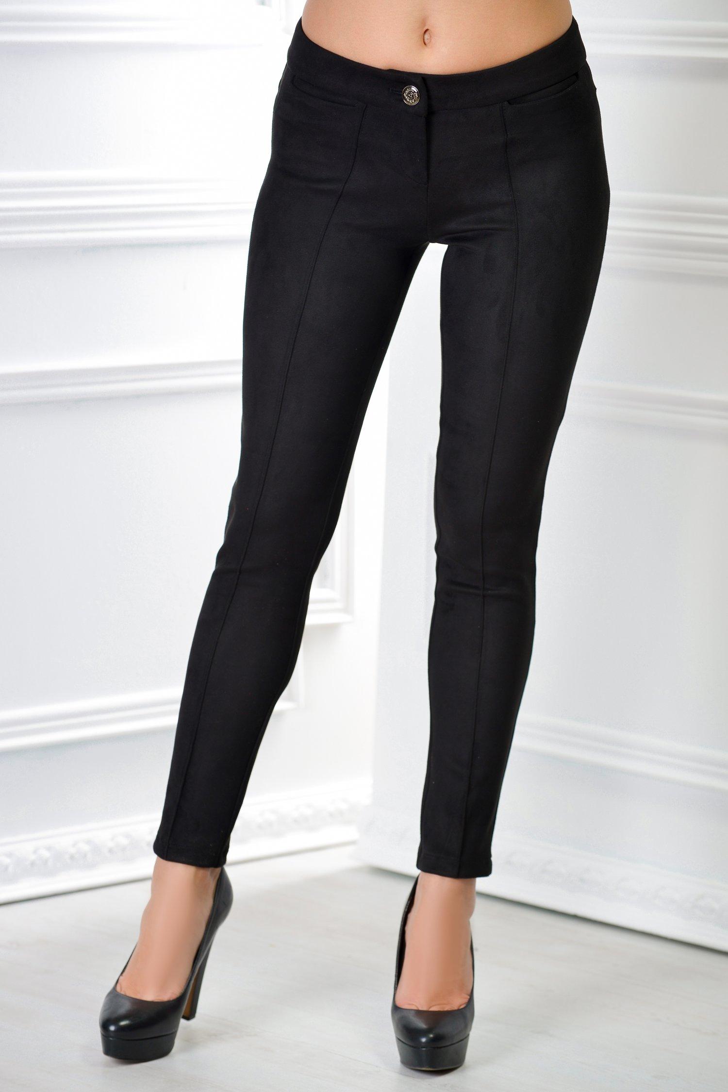Pantalon Niami negru cu dunga, colectia 2018