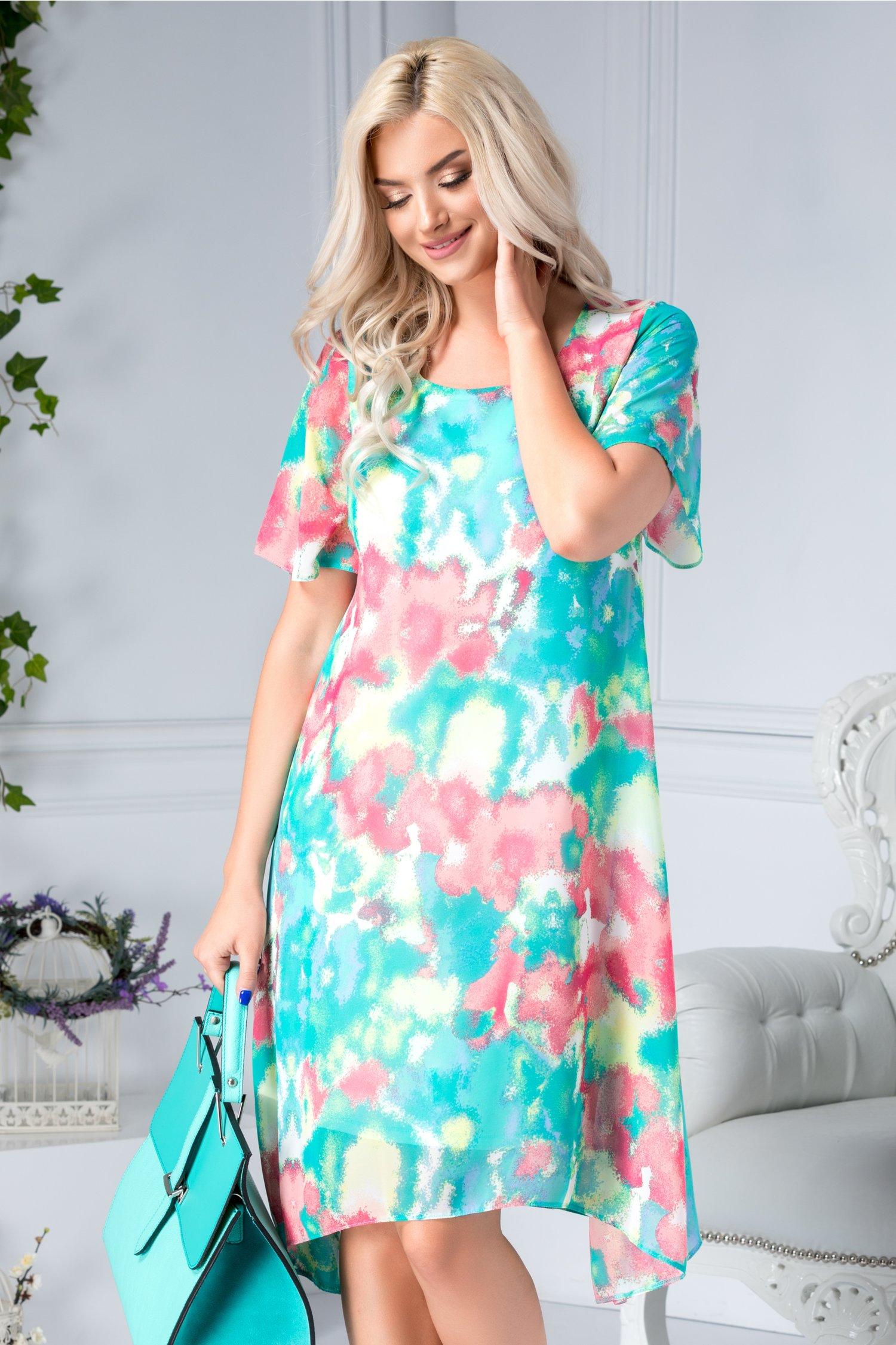 Rochie Monica conica bleumarin cu flori colorate