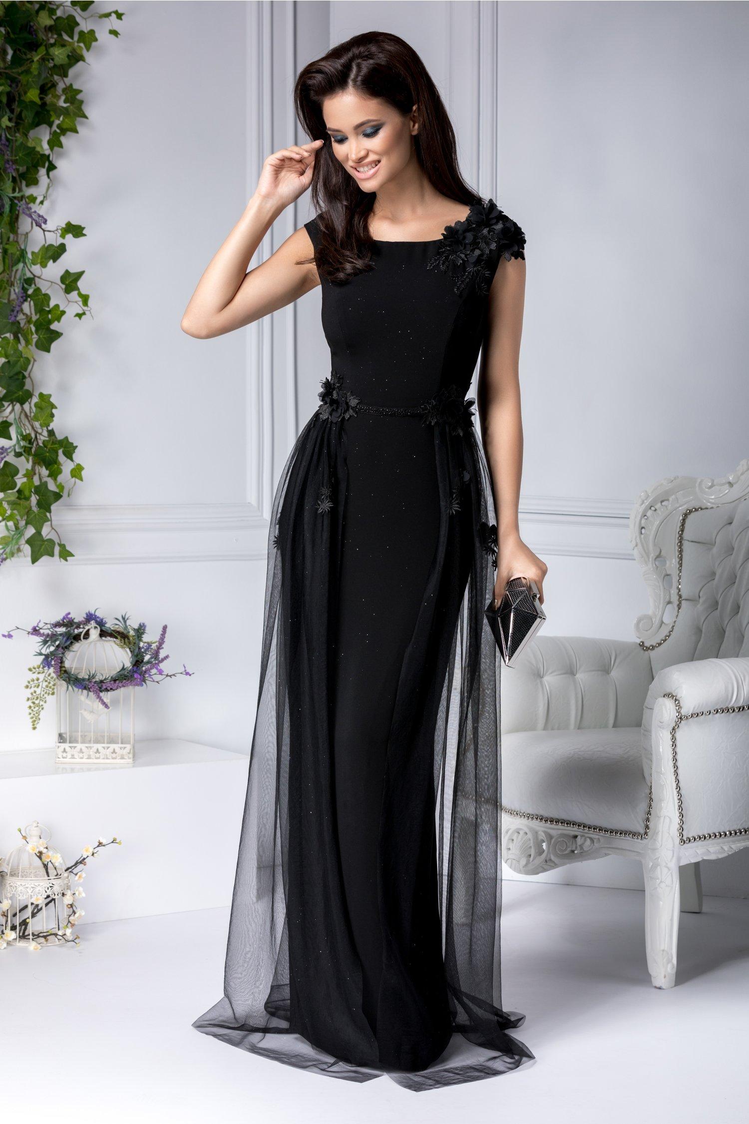 Rochie Ilona de vara neagra cu trandafiri rosii