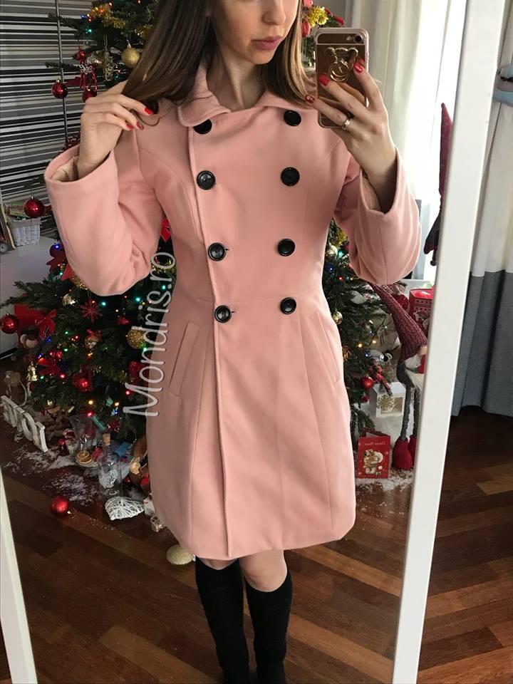 Rochie de zi lunga din tricot roz cu desen Minnie