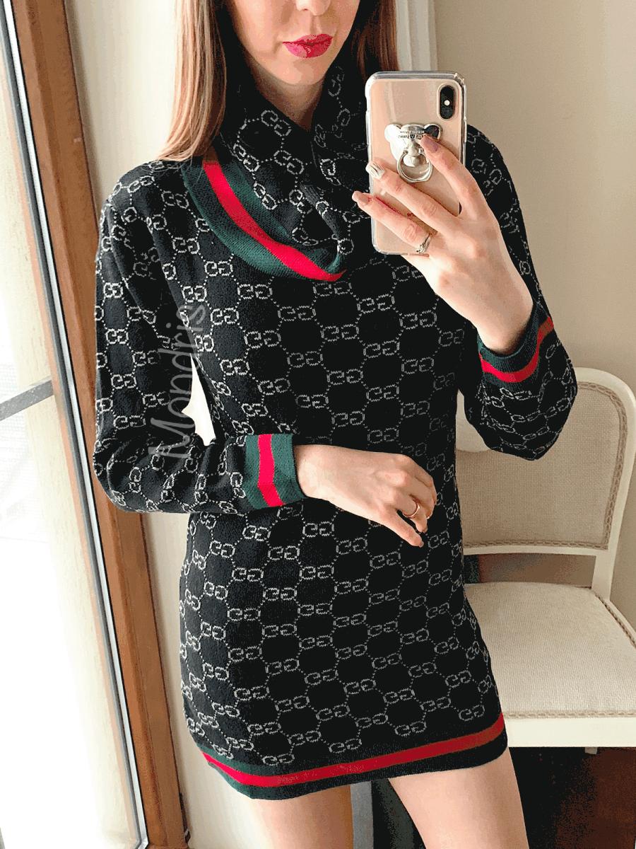 Rochie ieftina de zi neagra casual eleganta scurta cu imprimeu si guler separat