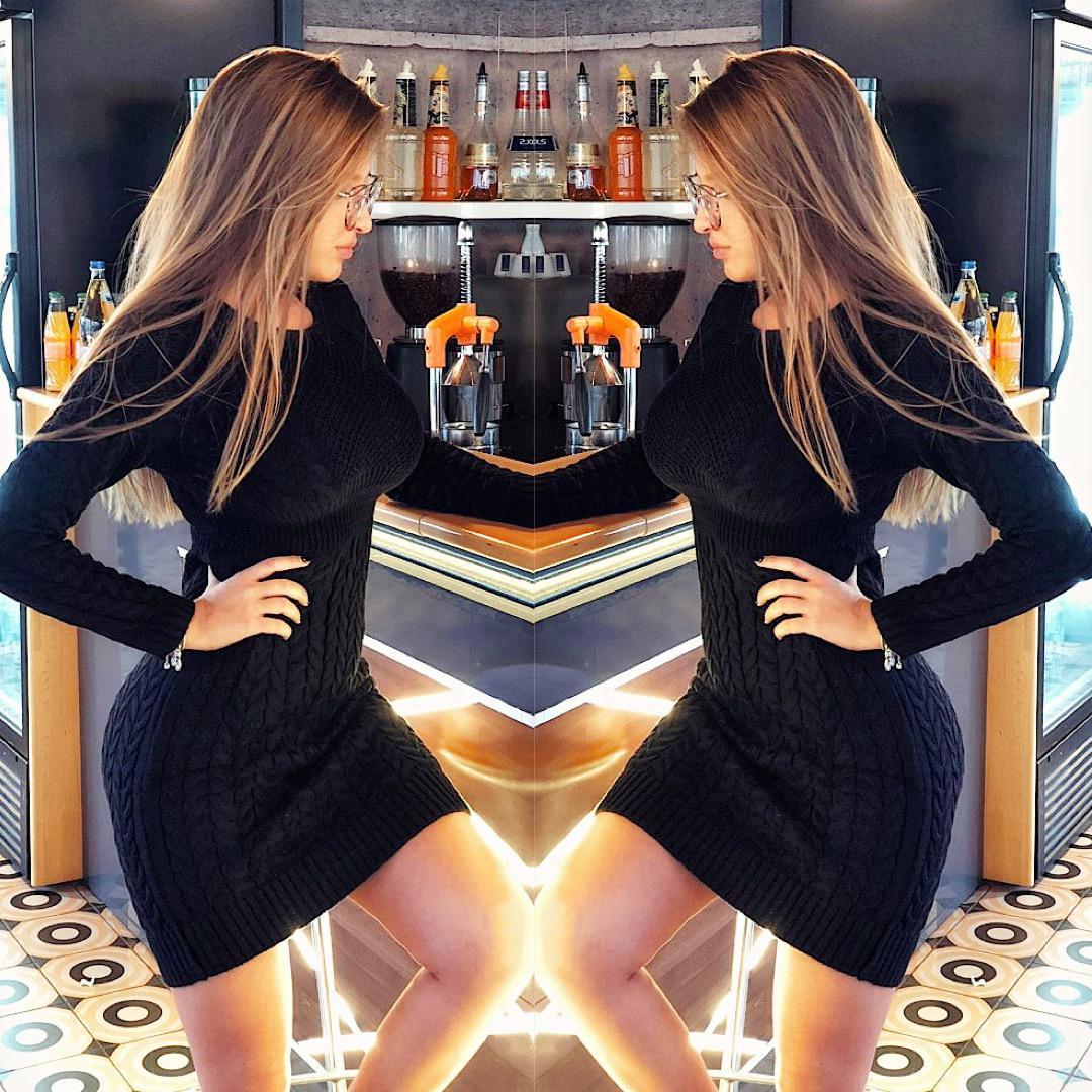 Rochie casual din tricot neagra cu impletituri