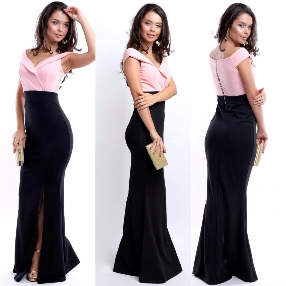 Rochie eleganta de seara lunga roz cu negru cu decolteu in V