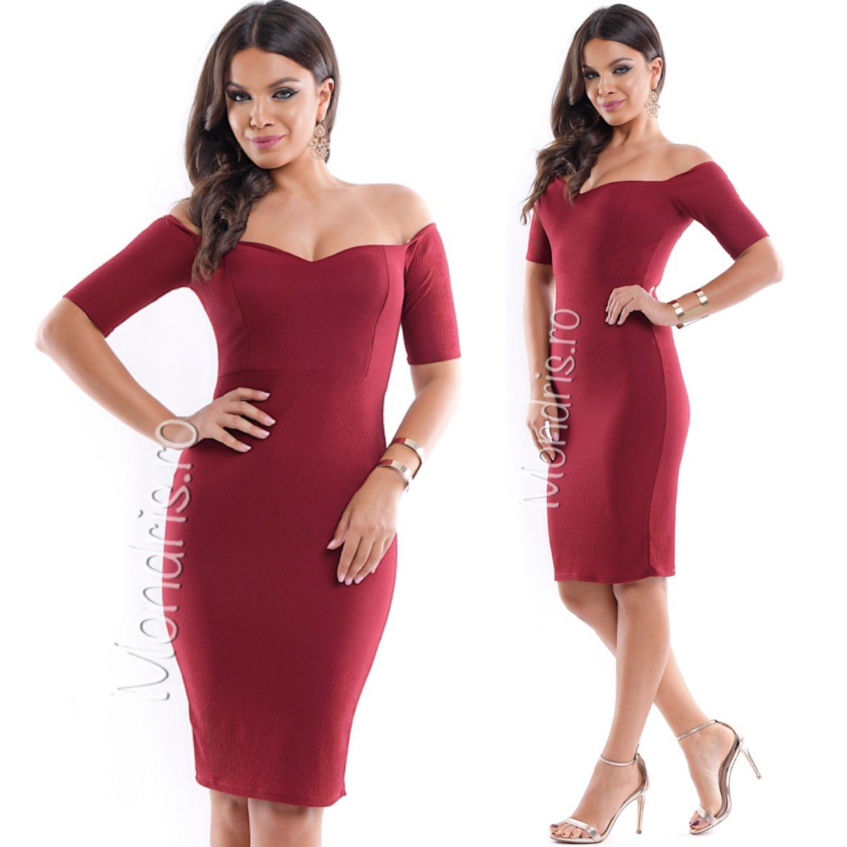 Rochie de ocazie scurta stramta rosie cu corset dantelat