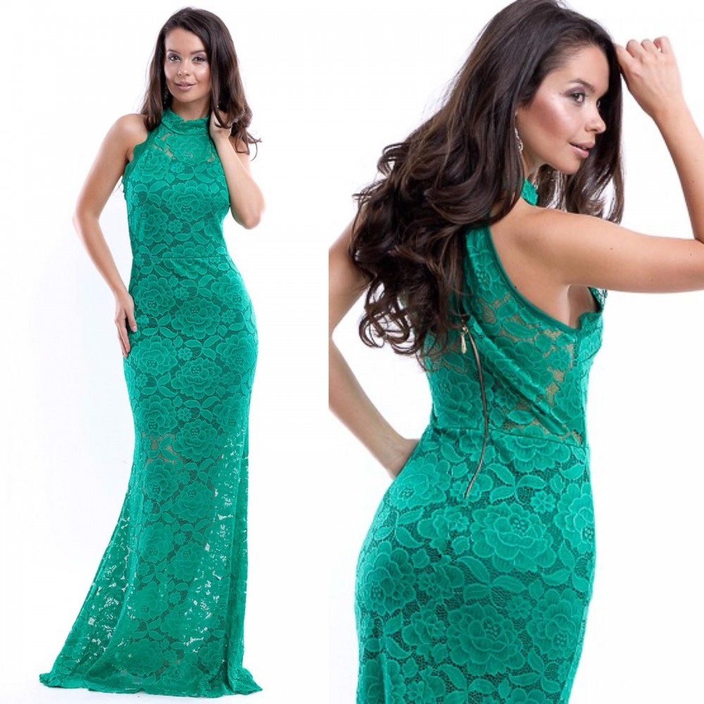 Rochie de seara lunga verde din dantela