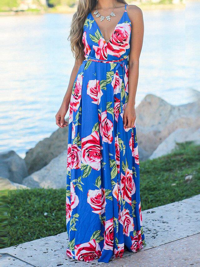 Flower Summer Dress Dorene Blue