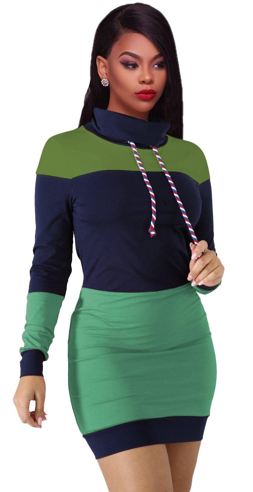 Rochie Mini Pulover Teressa Verde-Albastru