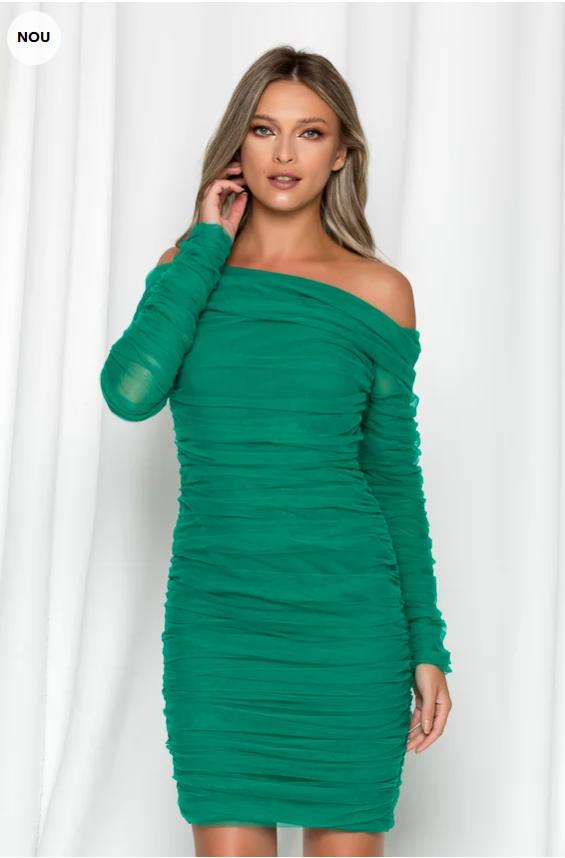 rochie-ladonna-verde-cu-fronseuri-din-tull