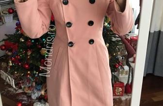 Palton dama gros roz deschis cu nasturi