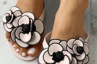 Sandale Florale Vallika Albe