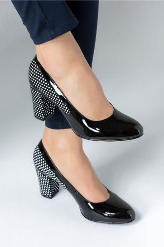 prima rata 100% de înaltă calitate design unic Pantofi dama negri cu buline albe si toc mediu, colectia 2018 ...